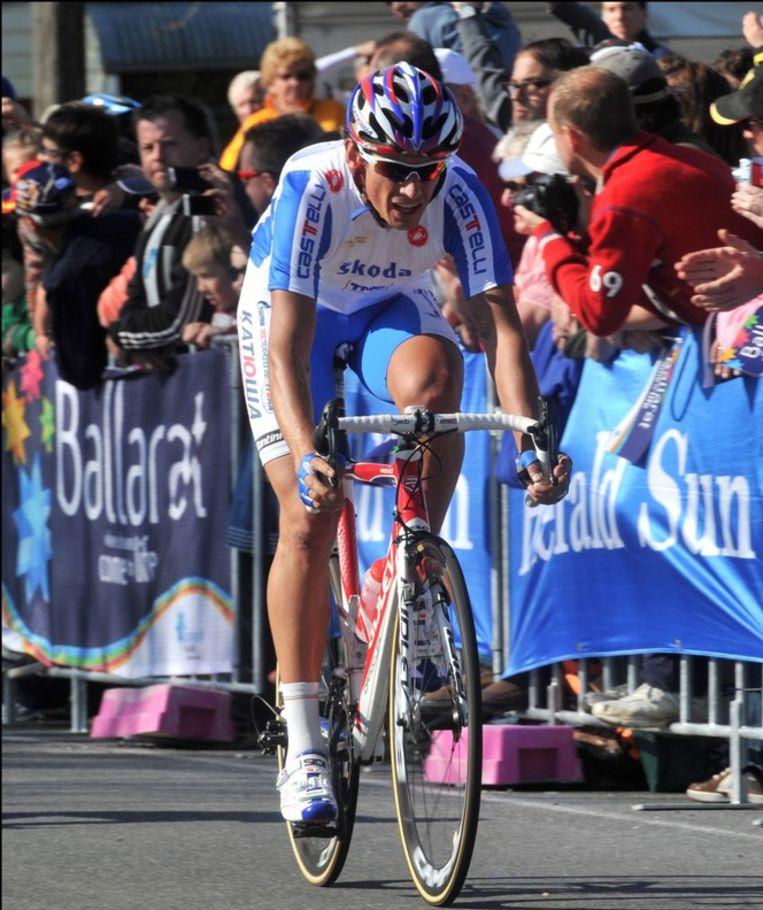 In de Vuelta moest Pozzato nog lijdzaam toekijken hoe Gilbert met twee ritzeges ging lopen. Hij wil de rollen zondag omdraaien. Beeld UNKNOWN