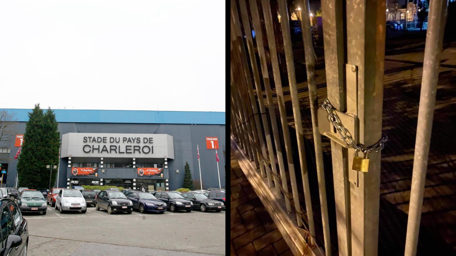 Les grilles du stade ont été cadenassés samedi soir après le match nul du Sporting Charleroi à Beveren.