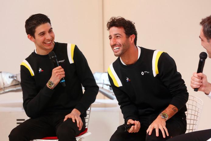 Esteban Ocon en Daniel Riccardo bij de presentatie van Renault.