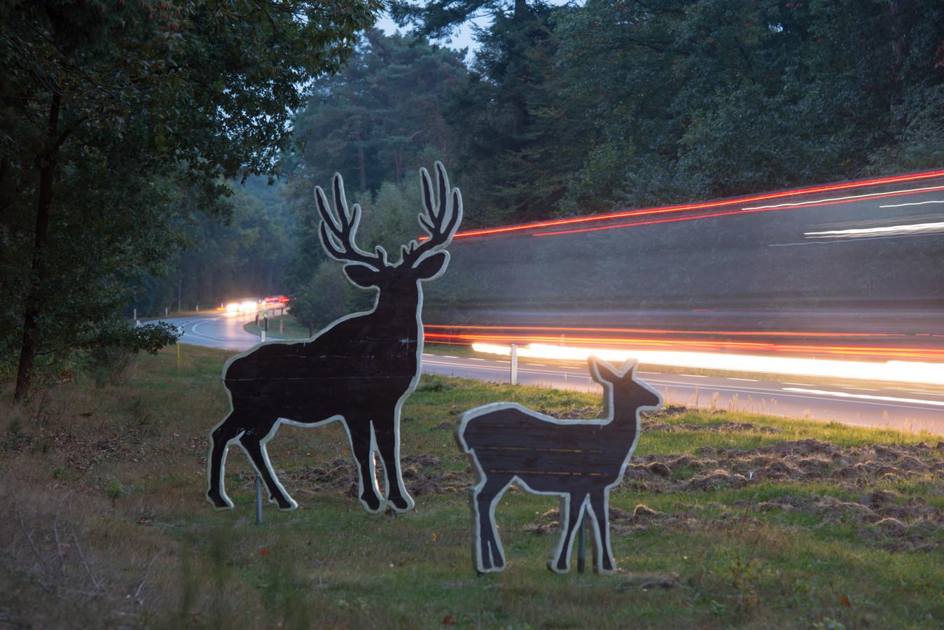 Op de Eperweg tussen Nunspeet en Epe wordt het verkeer via kartonnen dieren gewaarschuwd voor overstekend wild.