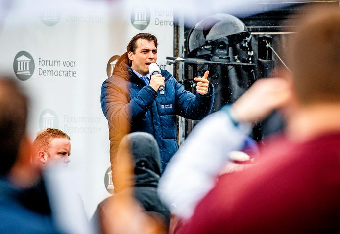 Thierry Baudet op verkiezingscampagne in Dordrecht.