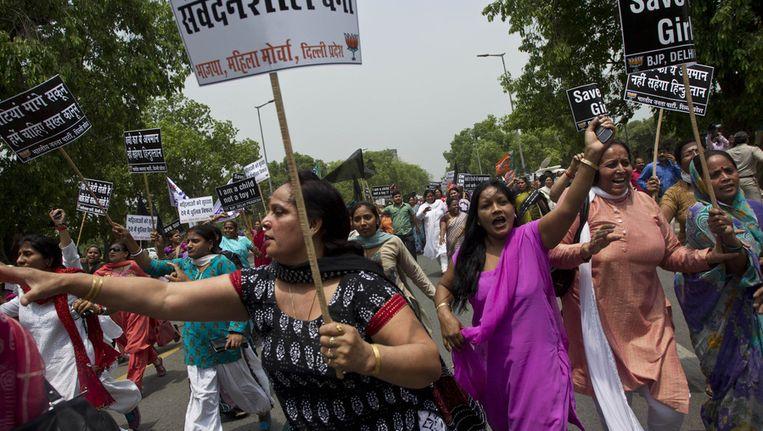 Protest in New Delhi voor de verkrachting van een 5-jarig meisje Beeld ap