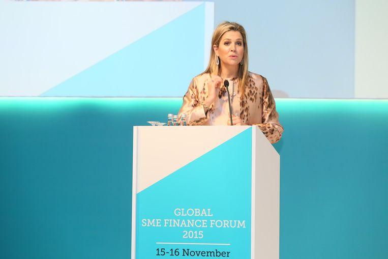 Koningin Máxima sprak zondag in Antalya voor het nieuwe mondiale netwerk SME Finance Forum. Beeld