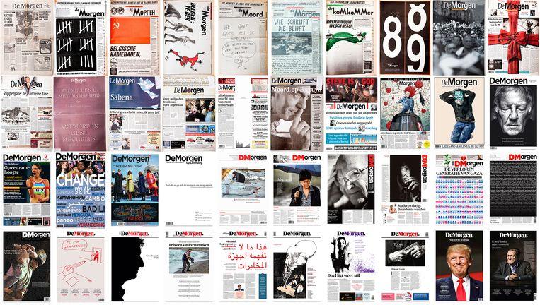 De 40 meest iconische voorpagina's uit 40 jaar De Morgen. Beeld rv