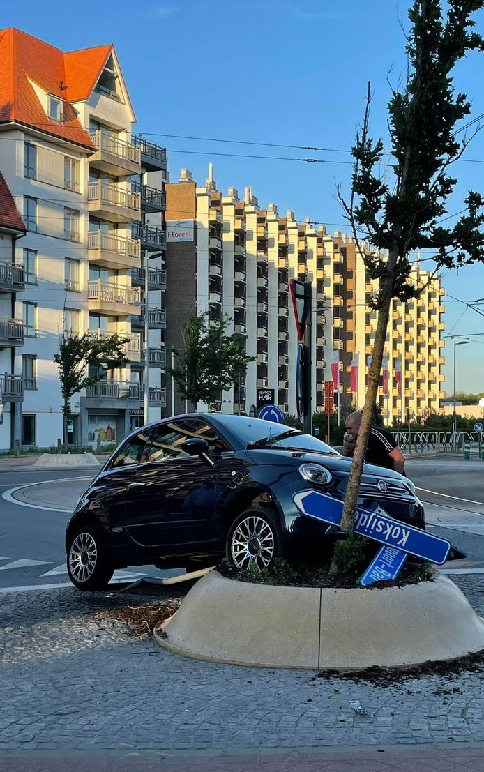 De bestuurster was onder invloed van alcohol en reed met haar auto op een verhoogde bloembak als deel van de straatinrichting. Enkele verkeersborden sneuvelden.