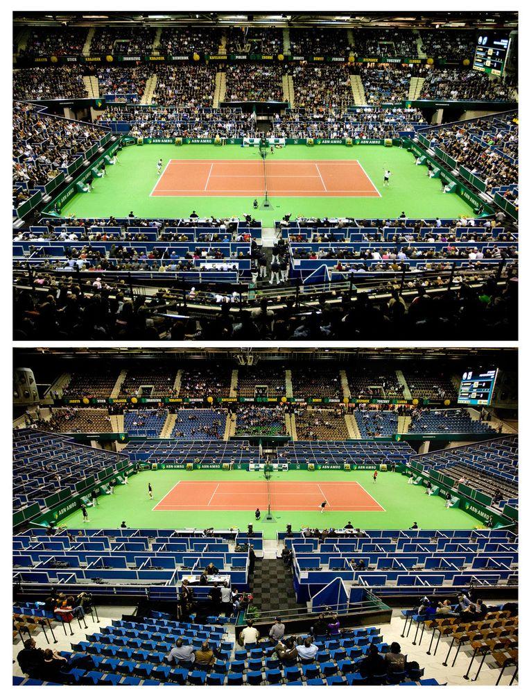 2009, foto boven: volle tribunes tijdens wedstrijd van Rafael Nadal tegen Simone Bolelli. Foto onder: lege tribunes tijdens de wedstrijd van Nicolay Davidenko tegen Julien Benneteau. De hal stroomde leeg nadat Nadal had gewonnen. Beeld anp