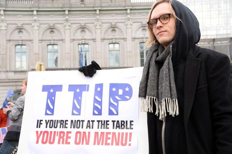 Er is over het algemeen veel protest te noteren tegen TTIP. Beeld AFP