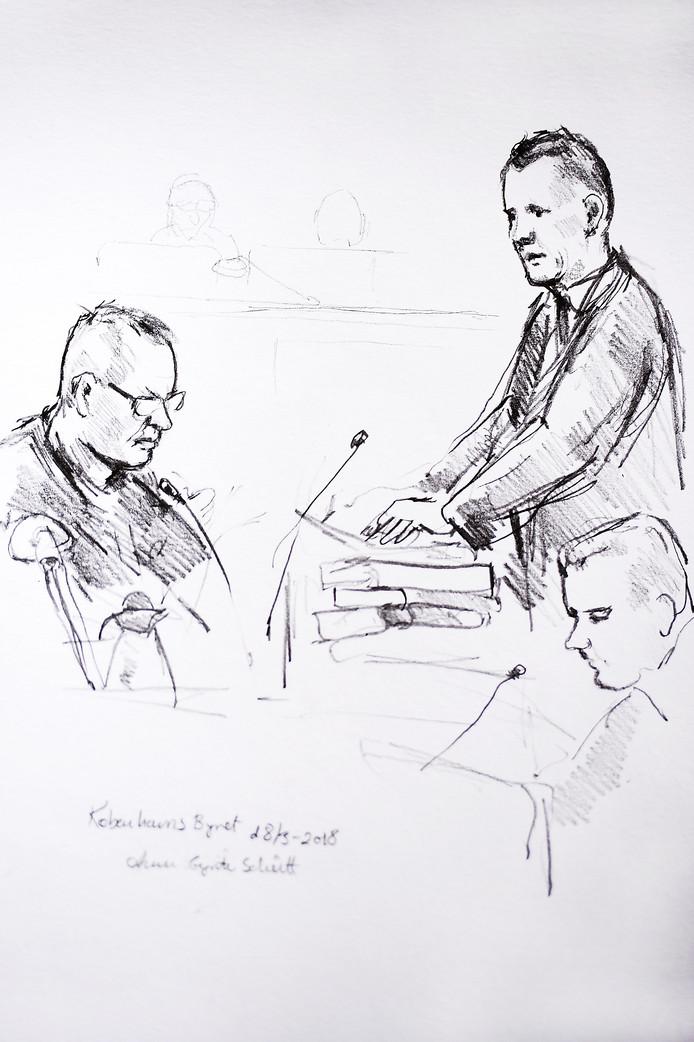 Een rechtbanktekening van Peter Madsen (links) en de openbaar aanklager.