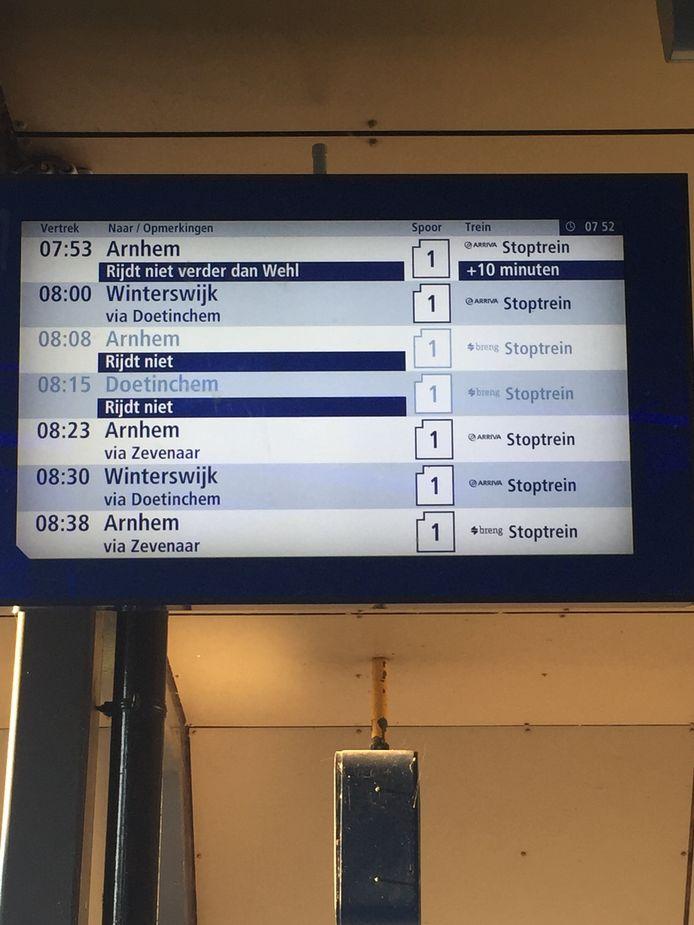 Geen treinen tussen Wehl en Zevenaar