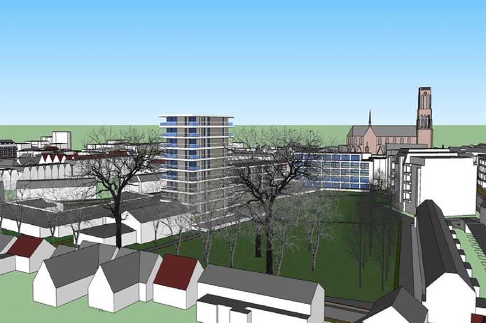 Deze illustratie toont de plannen zoals bouwbedrijf Berghege eerder had voor een woontoren aan de Fratershof. Linksvoor de toren staat de Nicolaasschool ingetekend.