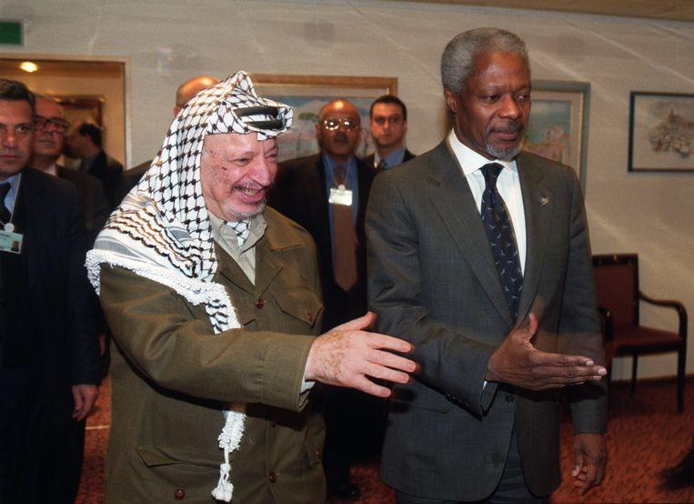 Met Yasser Arafat, in 1999 tijdens een bijeenkomst van het World Economic Forum in het Zwitserse Davos.