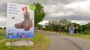 Welkomstbord voor Vierdaagse-deelnemers op de grens van Arnhem en Huissen.