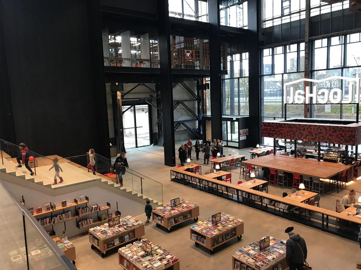 De entree van de nieuwe bibliotheek in Tilburg.
