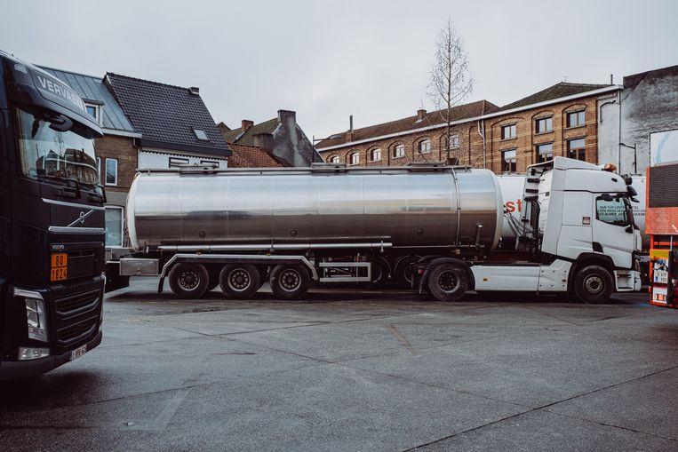 Vrachtwagens bij het bedrijf Tereos in Aalst. Beeld Wouter Maeckelberghe