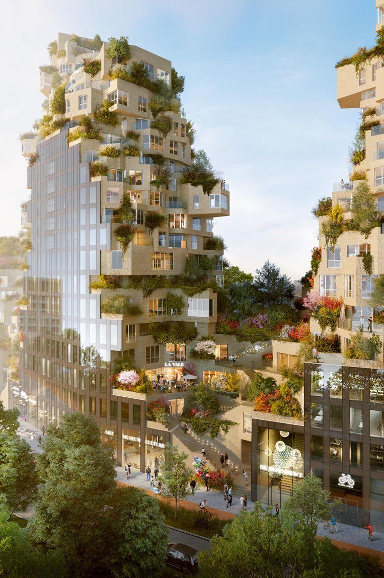 De Valley, ontwerp op de Zuidas in Amsterdam van architect Winy Maas en zijn bureau MVRDV, is in aanbouw. Beeld MVRDV