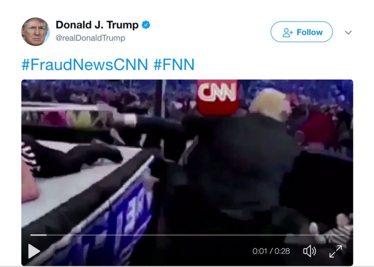 Tweet van 2 juli 2017 Beeld @realDonaldTrump
