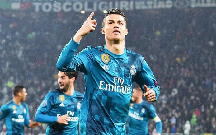 Cristiano Ronaldo viert zijn goal tegen Juventus in de kwartfinale van de Champions League.