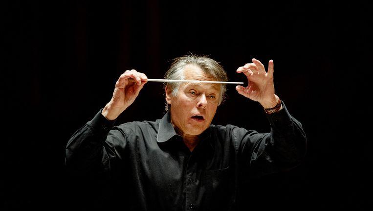 Mariss Jansons tijdens repetities met het Concertgebouworkest. Beeld anp