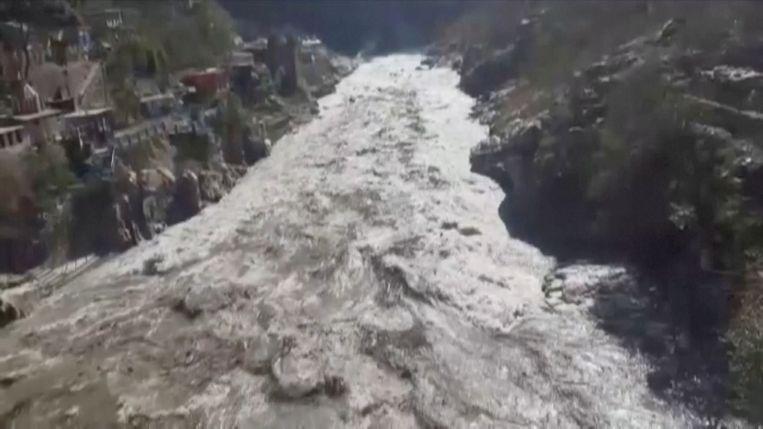 De overstroming in de regio Uttarakhand. Beeld SEE SCRIPT via REUTERS