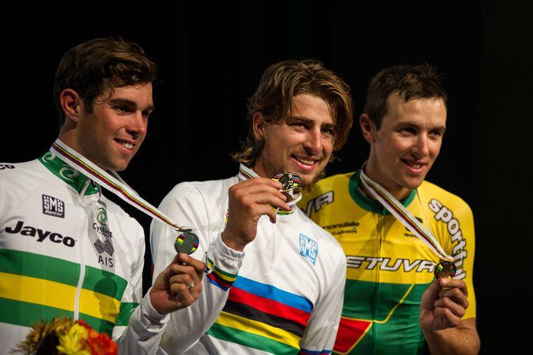 Wereldkampioen Peter Sagan in de regenboogtrui. Beeld Ethan Glading / Demotix