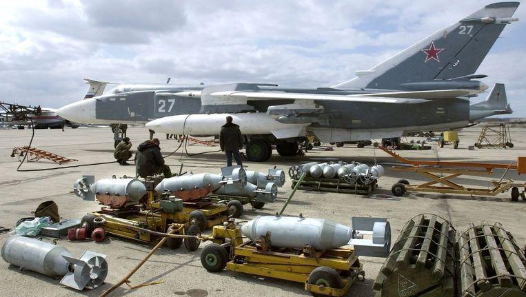 Een Russische Soechoj Soe-24-jachtbommenwerper. Beeld epa