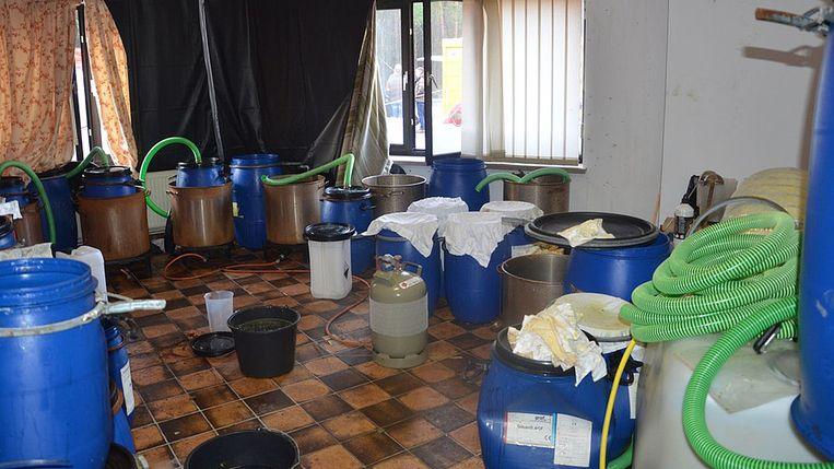 Het drugslab in Hechtel-Eksel. Beeld Politie