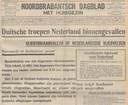 Voorpagina van de krant van 10 mei 1940 die in allerijl opnieuw werd opgemaakt. De krant jon niet meer bezorgd worden.