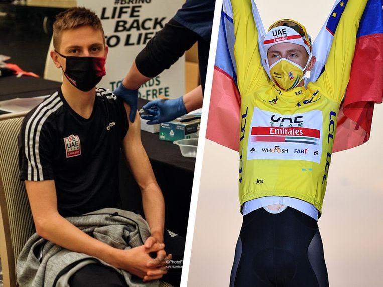 Tour-winnaar Tadej Pogacar krijgt het Chinese Sinopharm-vaccin toegediend. Beeld UAE Team Emirates en