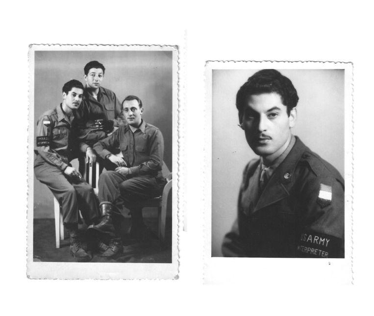 Maurice Schellekes, kort na de bevrijding in dienst van het Amerikaanse leger als tolk, werkzaam als vertaler bij ondervragingen van Duitse krijgsgevangenen. Beeld Privéarchief