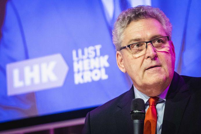 Henk Krol tijdens de presentatie van zijn nieuwe politieke partij Lijst Henk Krol (LHK). De politicus stapte in oktober uit zijn Partij voor de Toekomst, hij wil met LHK de Tweede Kamerverkiezingen in gaan. Op de kandidatenlijst staan ook namen uit Zuidoost-Brabant