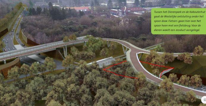Het 'ecoduct' in de westelijke rondweg.