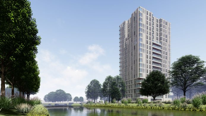 Artist's impression van de 60 meter hoge woontoren die op het terrein van het voormalig ROC-gebouw aan de Zangvogelweg moet verrijzen