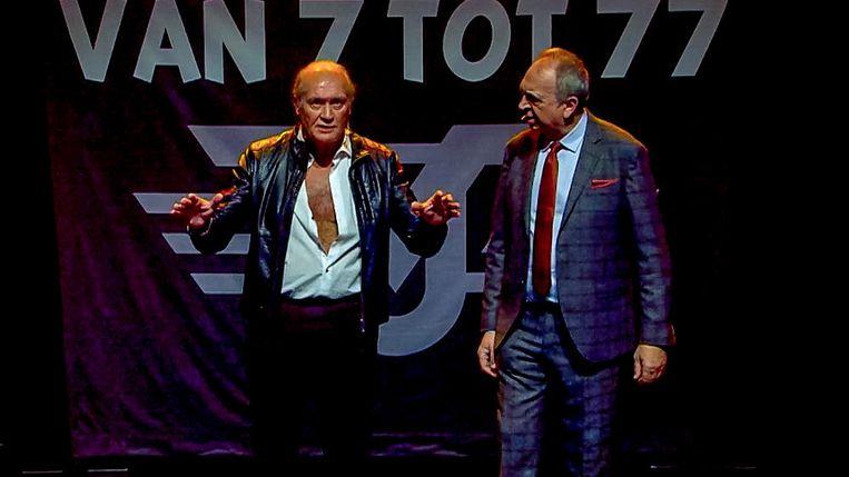 Jacques Vermeire en Luc Verschueren, een duo in talloze zaalshows. Beeld VTM