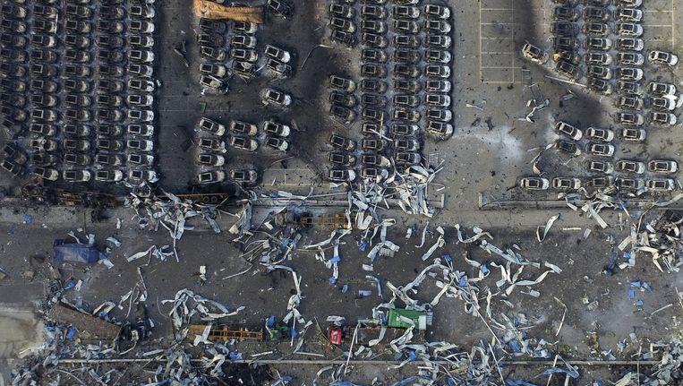 Een luchtfoto van een deel van de rampplek. Beeld reuters