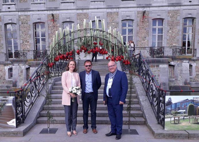 Prinses Claire, leraar Fred Verhaeghe en gedeputeerde Carl Vereecke bij de bogen.