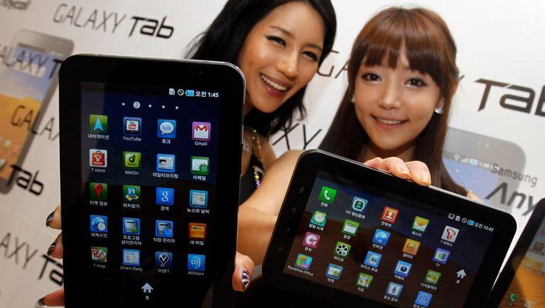 De Samsung Galaxy, een van de concurrenten voor de iPad van Apple. Beeld reuters