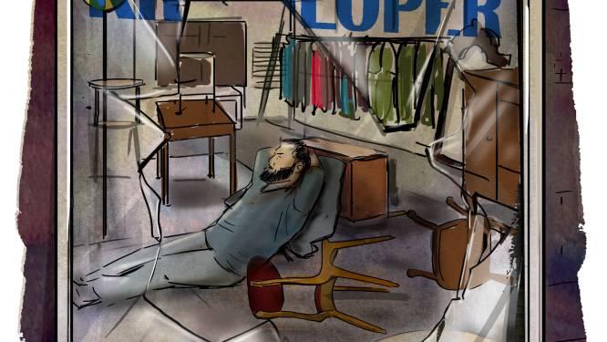 Niemand weet waar Richard woont, sliep hij daarom in de etalage van een kringloopwinkel?