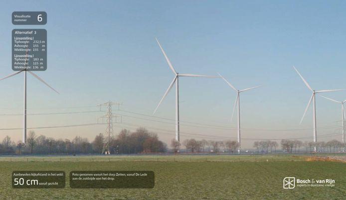 Visualisering van Betuwewind, zicht vanuit dorpsrand Zetten.