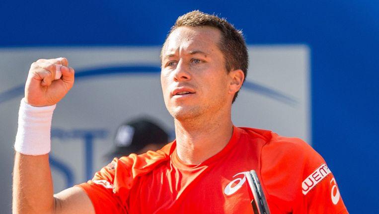 De Duitser Philipp Kohlschreiber heeft zich geplaatst voor de finale van het ATP-toernooi in het Duitse München. Beeld EPA