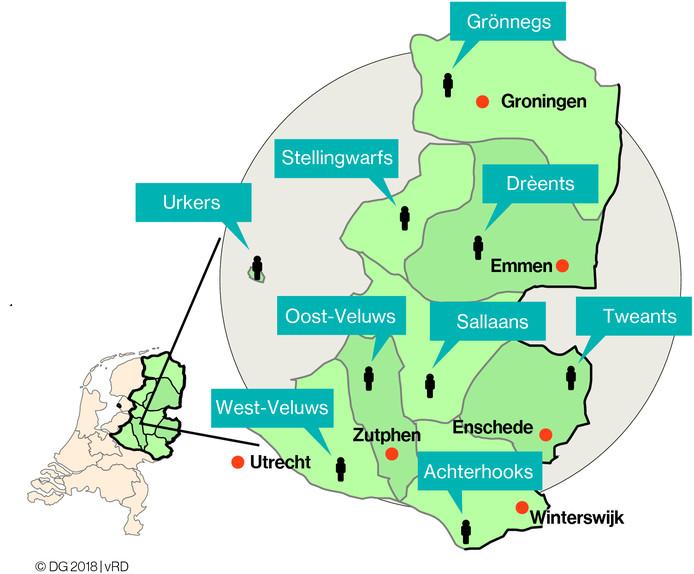 Het gebied waarin Nedersaksisch wordt gesproken.
