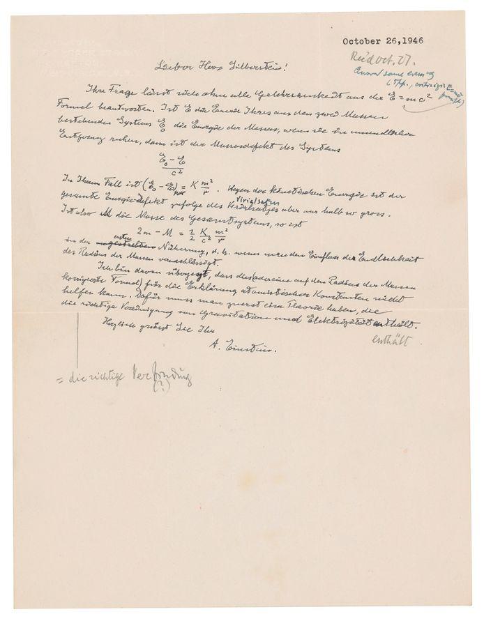 Elle était adressée au physicien américain d'origine polonaise Ludwik Silberstein.