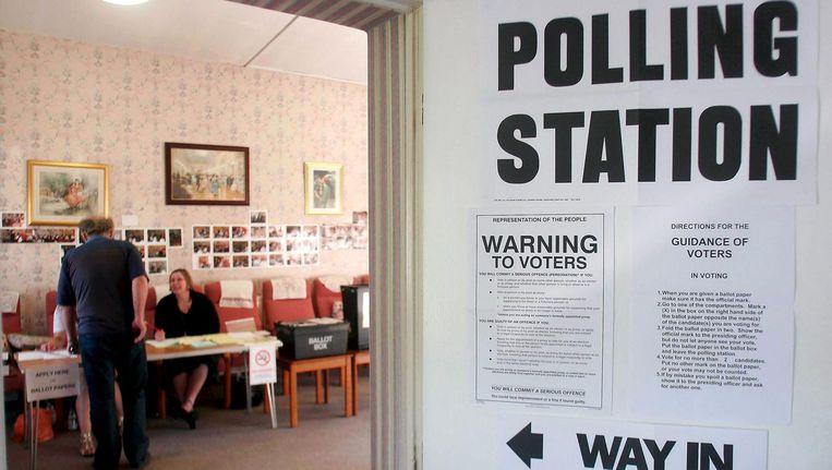 Een stembureau in Groot-Brittannië. Beeld afp