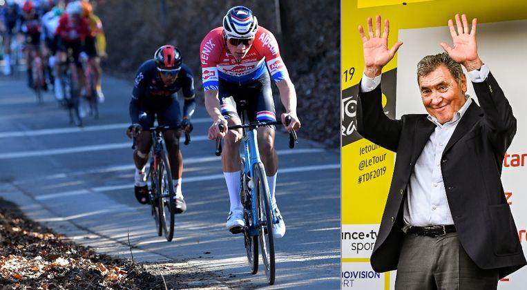 Eddy Merckx geniet van het aanvalsgeweld van Mathieu van der Poel. Beeld Photo News
