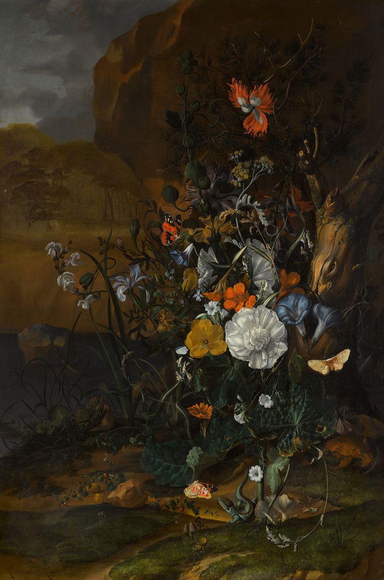 Bloemstilleven (1687) van Rachel Ruysch. Beeld