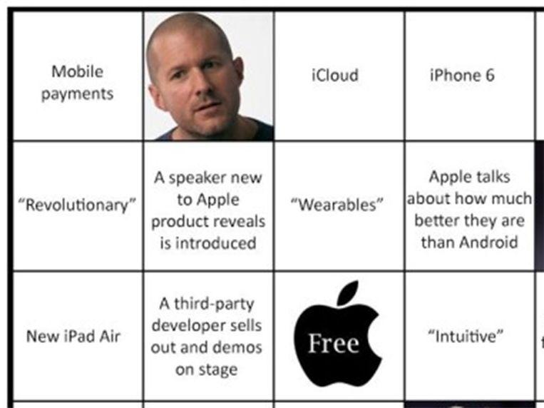 Deel van een Bingokaart Beeld Apple