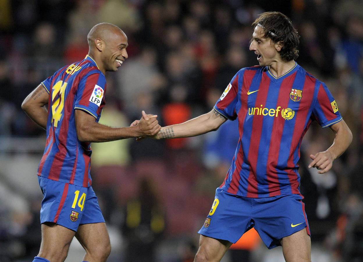 Zlatan Ibrahimovic en Thierry Henry als teamgenoten bij FC Barcelona in 2009.