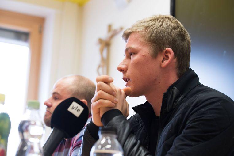 De Est Karel Tammjärv, tijdens een persconferentie waarin hij zijn dopinggebruik opbiechtte. Beeld BSR Agency