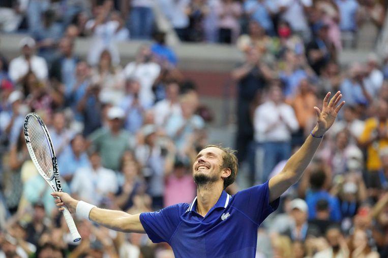 Medvedev viert zijn overwinning. Beeld USA TODAY Sports