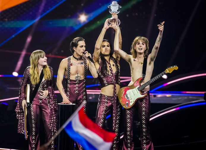 Maneskin uit Italie wint het Eurovisie Songfestival 2021 met het nummer Zitti E Buoni.