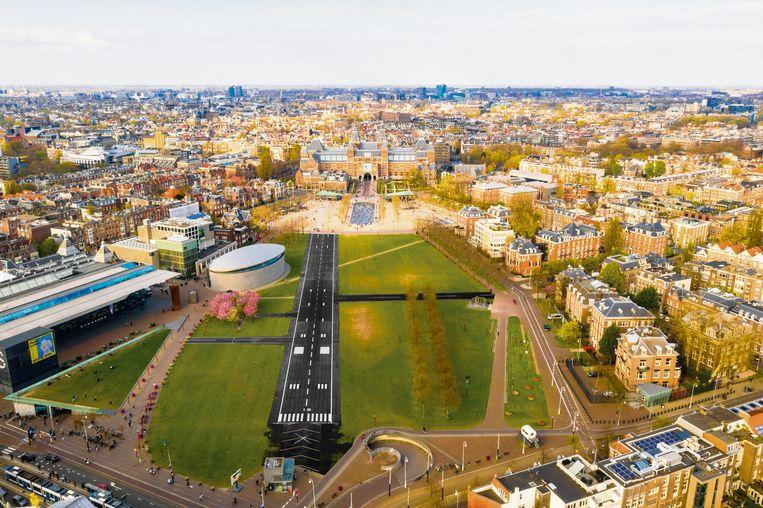 Een landingsbaan  op het Museumplein in Amsterdam.  Beeld De Speld